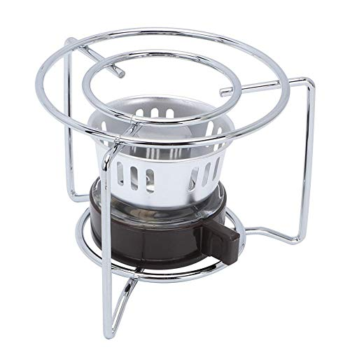 Liukouu Mini Estufa de Calentamiento de Café, Cafetera Portátil de Acero Inoxidable Al Aire Libre Moka Pot con Estante para Combustible Sólido Alcohol Picnic para Acampar