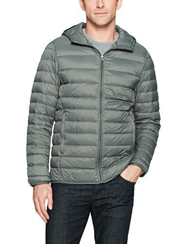 Amazon Essentials Men's Lightweight Water-Resistant Packable Hooded Down Jacket, Grey, Large