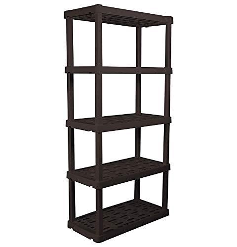 Oskar Heavy Duty 5-Tier Interlocking Storage Shelf in Black up to 150 lbs Per Shelving Unit Capacity - Includes Rust-Resistant Plastic Material