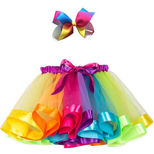 Adorel Falda de Tul Tutú Arcos de pelos Arco Iris para Niñas Multicolor A 2-4 Años (Tamaño del Fabricante M)