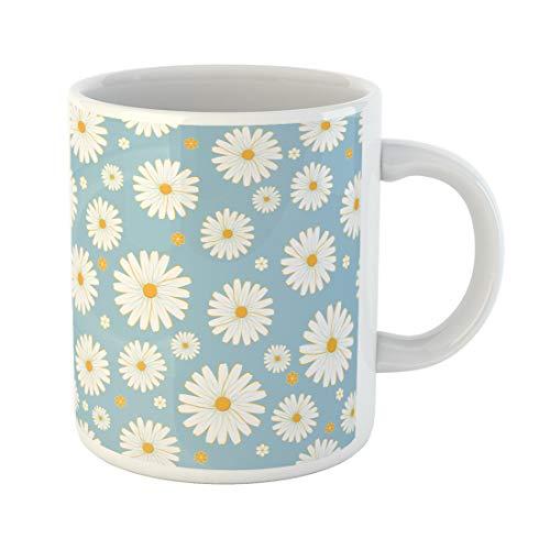 Semtomn Funny Coffee Mug Yellow Daisy Daisies Pattern Blue Flower Spring Vintage Chamomile Retro 11 Oz Ceramic Coffee Mugs Tea Cup Best Gift Or Souvenir