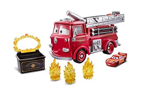 Disney Cars Camión Transportador de Coches de Juguete Rojo Acribacias con Agua (Mattel GPH80)