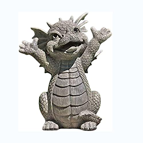 WESD Meditated Dragon Statue Decorative Outdoor Dragon Garden Statue Collecting Resin Ornament Outdoor Decoration Ornament for Outdoor Garden Yard