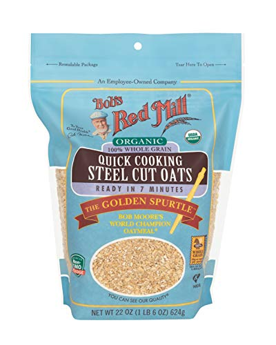 Bob's Red Mill Organic Quick Cook Steel Cut Oats (22 Ounce, Pack of 4)