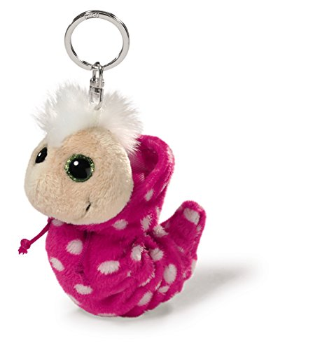 NICI 38476 - Flibbie Schlüsselanhänger mit Kapuze, 12 cm, pink mit weissen Tupfen