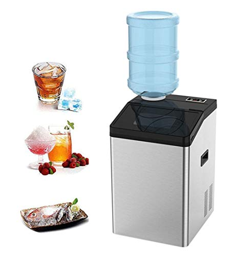 H.Slay Máquina automática de Cubitos de Hielo 2 en 1, 55 kg de Hielo / 24 h, pequeño mostrador portátil, eléctrico, Uso doméstico, Barras de Cocina, cafetería, Grifo/Agua