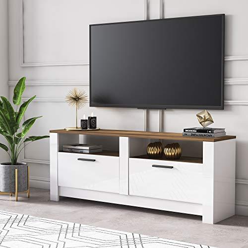 Grada Mid-Century Modern TV Unit and Media Console - 145 cm Width - Gloss White