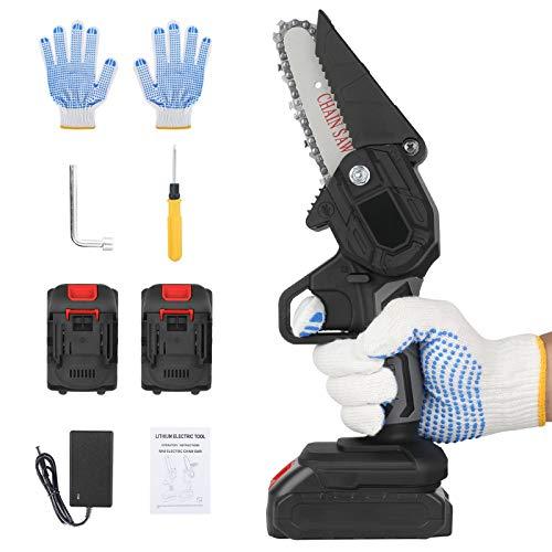 BLAZOR Mini Kettensäge, Akku-Kettensäge Elektrisch mit 2 wiederaufladbaren Akku-Handscheren für Äste, Gartenkettensägen zum Schneiden von Holz (Black)