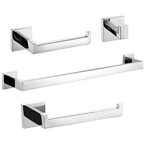 TURS 4-Piece Bathroom Accessories Set Towel Bar Towel Holder Toilet Paper Holder Robe Hook, SUS304 Stainless Steel Wall Mounted,Chrome Polish Finished.