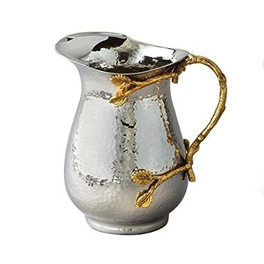 Elegance Golden Vine Stainless Steel Pitcher, Silver/Gold
