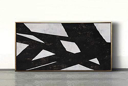 ZXJYH handgeschilderd olieverfschilderij kunstwerk op canvas, grote geometrische kunst horizontale schilderij muurkunst canvas schilderwerk, moderne kunst zwart wit minimalistische kunst voor woonkamer decoratie 90×180cm(36×72 inch)