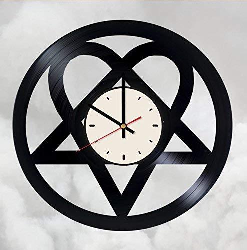 HIM Logo Gothic Rock Band Vinyl Record Wall Clock Rock Music Wall Clock Artwork Gift idea for Birthday, Christmas, Women, Men, Friends, Girlfriend Boyfriend and Teens - Living Kids Room Nursery