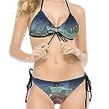 WomanFashion - Traje de baño de bikini con espejo de plantas tropicales, 2 piezas, traje de baño con punto de onda