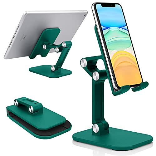 Yisica Supporto Telefono Cellulare, Supporto Regolabile per Telefono da Tavolo, Corso Online Pieghevole Antiscivolo e Supporto da Tavolo per Video, Compatibile con iPhone iPad Kindle Tablet (Verde)