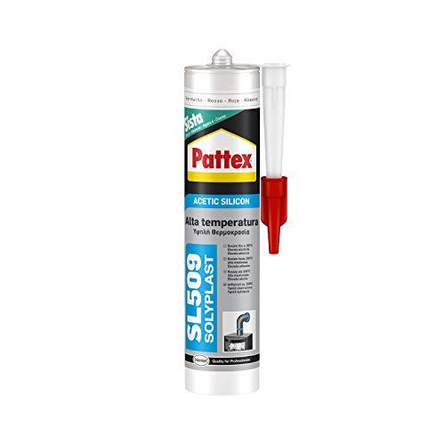 Pattex SL 509 Alta Temperatura Silicone Acetico, silicone rosso per molti materiali come vetro e alluminio, silicone alte temperature durevole, rosso, 1 x 300 ml cartuccia