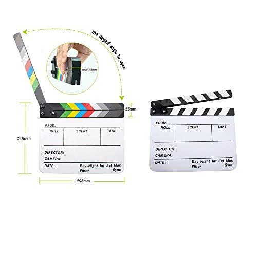 Andoer Acrylic Clapboard Dry Erase Director Film Movie Clapper Board Slate 9.6 11.7