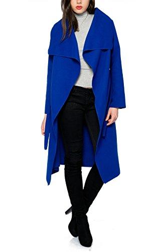 Kendindza Damen Mantel Trenchcoat mit Gürtel OneSize Lang und Kurz (One Size, Royalblau Lang)