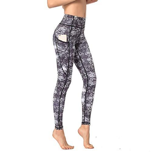 Pantalones De Yoga De Cintura Alta para Mujer, Pantalones De Entrenamiento para El Control del Abdomen para Mujeres Leggings Elásticos En 4 Direcciones con Bolsillos,B,XL