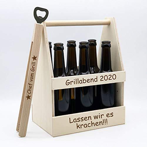 Persönliches Grill-Set = Bierträger + Grillzange + Flaschenöffner + kostenlose Gravur | individuelles Geschenk-Set für den Mann | Grill-Geschenk zum Geburtstag | Vatertagsgeschenke (Chef vom Grill)