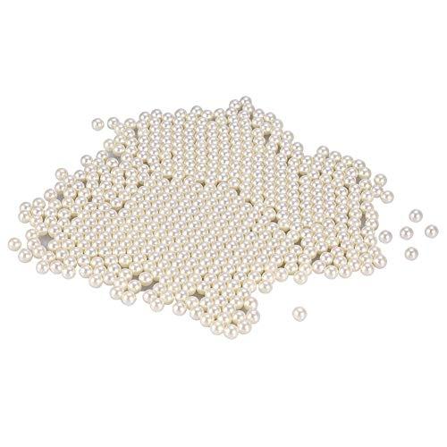 Uxsiya 1300PCS/Bag Art Faux Pearls Perlas de Maquillaje para Pinceles Cepillo de Maquillaje acrílico Decorativo Cubo Perla para Belleza Decorativa Caja de Almacenamiento Transparente(Blanco)