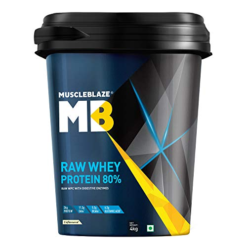 MuscleBlaze Raw Whey Protein (Unflavoured, 4 kg / 8.8 lb, 131 Servings)