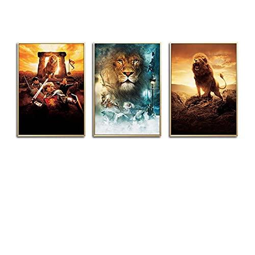 CCZWVH Film Poster Die Chroniken von Narnia Lion, Hexe und Kleiderschrank Drucke Leinwand Kunst Gemälde Mordern Wandkunst Wohnzimmer Home Dé 16x24in x3 inch Kein Rahmen