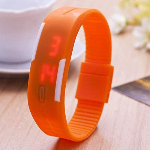 Reloj Impermeable con Superficie Curvada y luz LED roja con función de Fecha, Reloj Digital Unisex con Correa de Silicona (Negro)