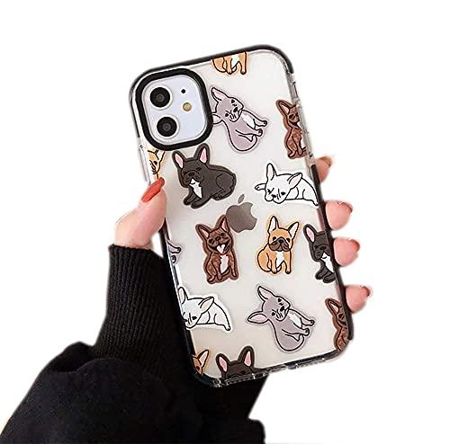 iPhone 11 Case, Clear Cute French Bull Dog Pattern Case for Women Girls, TPU Soft Slim Flexible Silicone Cover Phone Case for iPhone 11 6.1 inch