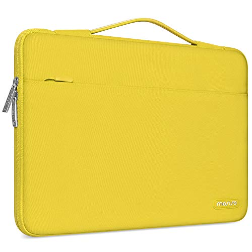 MOSISO Maletín Compatible con 13-13.3 Pulgadas MacBook Air/MacBook Pro/Ordenador Portátil, Funda Blanda Protectora 360 Multifuncional Bolso con Correa de Carro, Amarillo