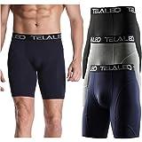 TELALEO Men's Compression Shorts Cool Dry Sports Running Underwear Tights 3 Pack Black Navy Grey XL
