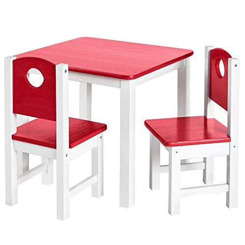 BJYX Kindersitzgruppe 3tlg Kindermöbel Set Sitzgarnitur Kind Kindertisch Kinderstuhl (Color : Rot)