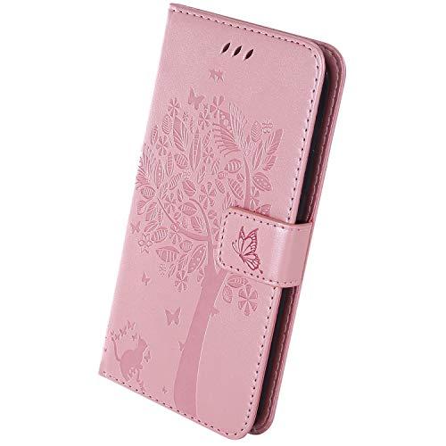 Herbests Kompatibel mit Xiaomi Mi CC9 Handyhülle Leder Tasche Retro Muster Schmetterling Baum Katze Leder Hülle Brieftasche Flip Case Handytasche Wallet Magnet Stand,Rose Gold
