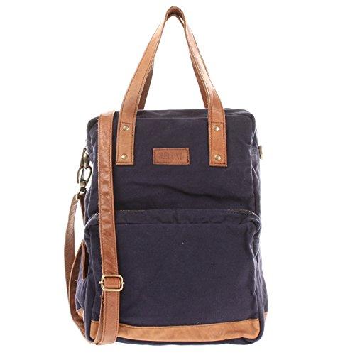 LECONI Rucksack & Umhängetasche in einem für Damen & Herren Retro Backpack Canvas + echtes Leder Bodybag DIN A4 Schultertasche 2in1 Freizeitrucksack 28x37x13cm navy LE1014-C