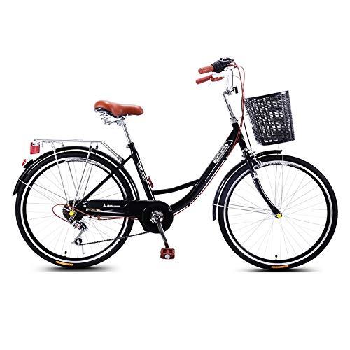 Bicicleta, Bicicleta de Viaje Retro, Bicicleta Urbana de Moda de 26 Pulgadas, Asiento Ajustable, TransmisióN de 7 Velocidades, 7 Velocidades, para Trabajo, Estudiantes, Ocio/B / 168x95cm
