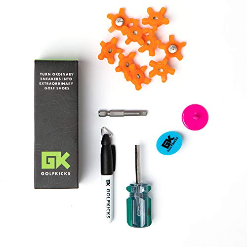 Golfkicks Golf Traction Kit for Sneakers with DIY Golf Spikes - Add Soft Spikes to Almost Any Shoe, 20 Count - As Seen On Shark Tank