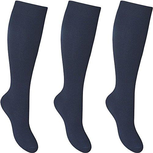Calcetines escolares altos hasta la rodilla, de algodón, para chicas, paquete de 3pares Azul azul marino