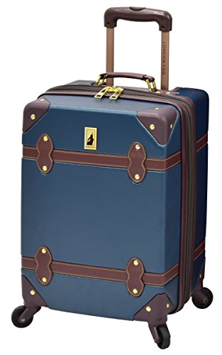 London Fog Retro 20' Expandable Hardside Spinner, Navy/Brown