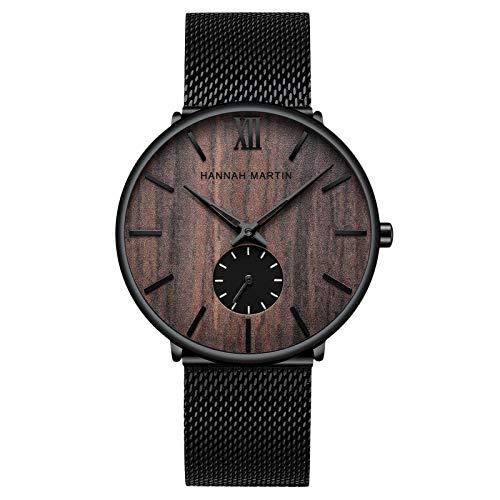 RORIOS Hombre Relojes Analógico Cuarzo Reloj Moda Minimalista Relojes con Negra Correa en Malla Acero Inoxidable Casual Reloj de Pulsera Nuez