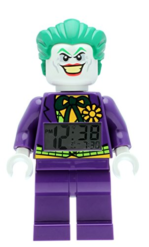 Lego Batman Movie 9007309 Joker Kinder-Wecker mit Minifigur, violett/grün, Kunststoff, 24 cm hoch, LCD-Display, Junge/Mädchen, offiziell