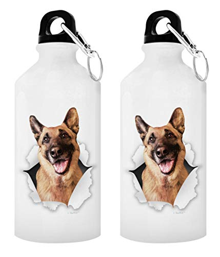 K-9 Dog Water Bottle German Shepherd Gifts 2-Pack Aluminum Water Bottles with Cap & Sport Top White
