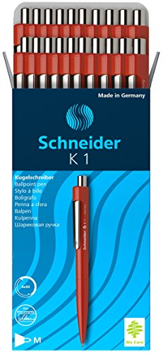 Schneider K-1 Retractable Ballpoint Pen, Red, Box of 20 (3152)