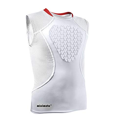 Minimoto Chest Protector, Heart-Guard/Sternum Protection Shirt for Baseball, Football, T Ball, Lacrosse & Goalies, Youth Sizes (White, Youth Medium)