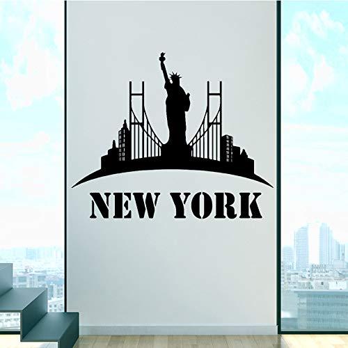 Woonkamer verwijderbare waterdichte vinyl muursticker New York logo muursticker woondecoratie zelfklevend behang 43x56cm