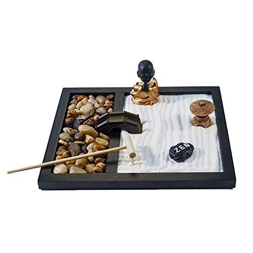 FDQNDXF Kit de Jardin Zen, Mini kit de Jardin de Sable Japonais de Bureau, Cadeaux Uniques de soulagement du Stress, pour Les Cadeaux de méditation de Bureau et de décoration intérieure