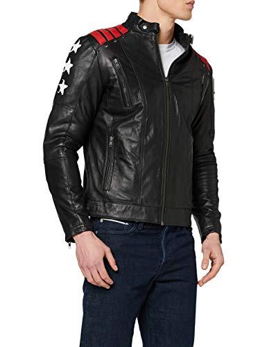 Chaqueta Moto Hombre en Cuero   URBAN 5884 Rising Star   Chaqueta Piel Moto con Protectores CE Extraíbles para Espalda, Hombros Y Codos   Negro, Talla 5XL