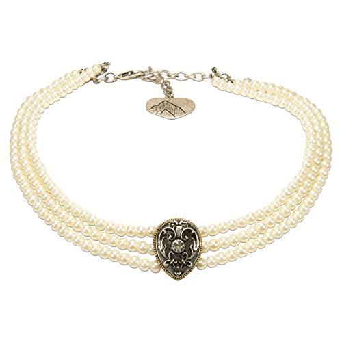 Alpenflüstern Trachten-Perlen-Kropfkette Adela Trachtenkette, eleganter Damen-Trachtenschmuck, Dirndlkette Creme-weiß DHK259