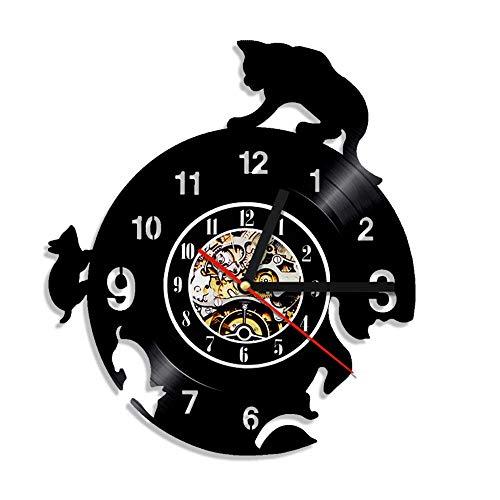 1 Pieza 12 Pulgadas Gato y ratón Vinilo Reloj de Pared 3D...