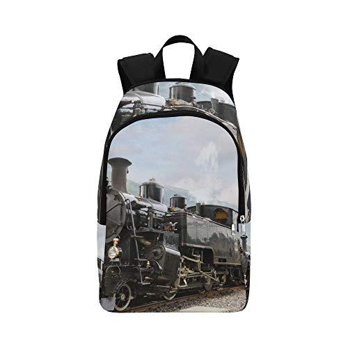 Vintage Black Steam Powered Eisenbahn Zug lässig Daypack Reisetasche College School Rucksack für Männer und Frauen