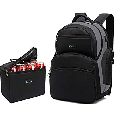 Laptop Cooler Backpack Insulated lunch Bag, 16.4-inch Laptop, TSA Friendly, Detachable Lunch Box, Leak proof,Waterproof, Hiking, School, Beach, Picnic office Camping backpack for Men Women, USB