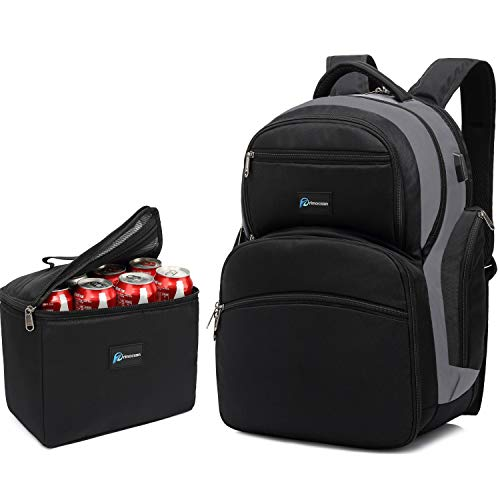 Laptop Cooler Backpack Insulated lunch Bag, 16.4-inch Laptop, TSA Friendly, Detachable Lunch Box, Leak proof,Waterproof, Hiking, School, Beach, Picnic Traveling Camping backpack for Men Women, USB